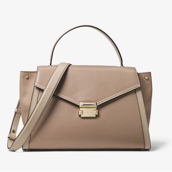 32592ca4d36a Michael Kors Whitney Large Leather Satchel Truffle
